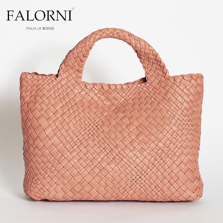 FALORNI ファロルニ falor ファロール レディース トートバッグ ハンドバッグ ピンク 編み込み メッシュ イントレチャート 本革 イタリア製 1059