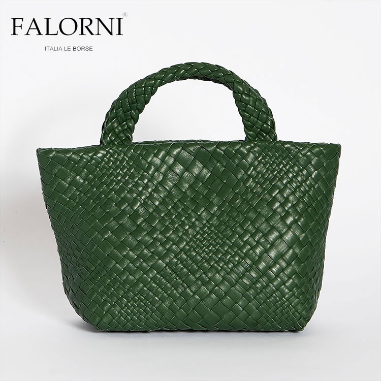 FALORNI ファロルニ falor ファロール レディース ミニ トートバッグ ハンドバッグ グリーン/緑 編み込み メッシュ イントレチャート 本革 イタリア製 11