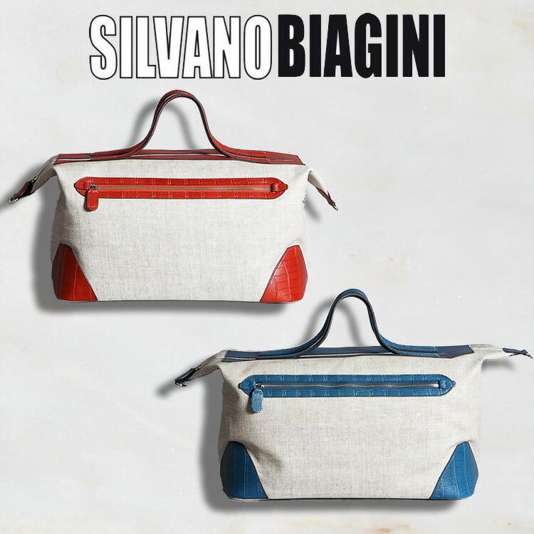 シルヴァノ ビアジーニ SILVANO BIAGINI メンズ バッグ ボストンバッグ レッド/赤 ブルー/青 キャンバス/帆布 アリゲーター/ワニ革 イタリア製 311 正規取扱品