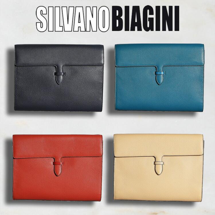 シルヴァノ ビアジーニ SILVANO BIAGINI メンズ バッグ クラッチバッグ ネイビー/紺 ブルー/青 レッド/赤 ベージュ 牛革 アリゲーター/ワニ革 イタリア製 313 正規取扱品