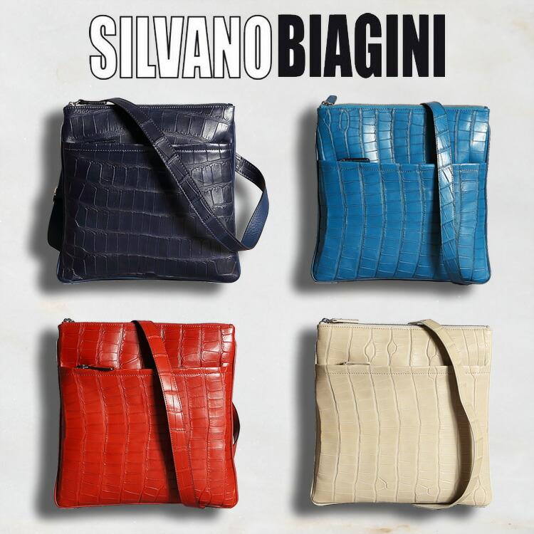 適切な価格 シルヴァノ ビアジーニ SILVANO BIAGINI メンズ バッグ ボディバッグ ショルダーバッグ ネイビー/紺 ブルー/青 レッド/赤 ベージュ 牛革 アリゲーター/ワニ革 イタリア製 314 正規取扱品, 大仁町 ee35050c