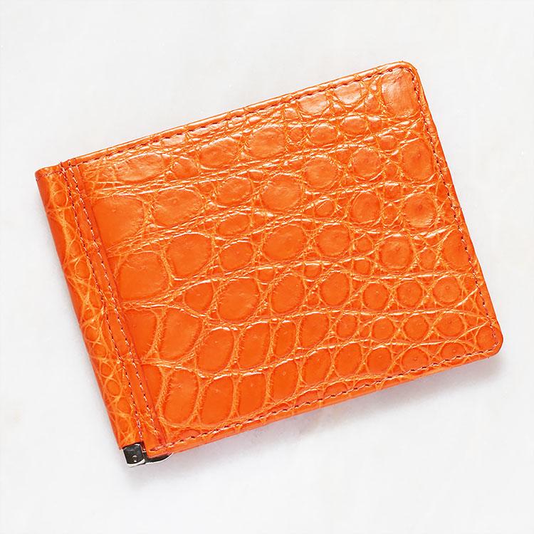 財布 クロコダイル ワニ革 マネークリップ 札ばさみ 二つ折り 薄型 コンパクト 手のひらサイズ オレンジ 本革 メンズ 無双 日本製 オリジナル 開運 金運