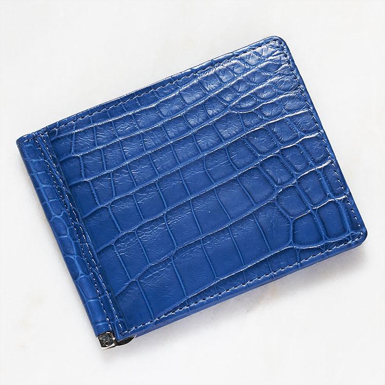 財布 クロコダイル ワニ革 マネークリップ 札ばさみ 二つ折り 薄型 コンパクト 手のひらサイズ インディゴ ブルー/青 本革 メンズ 無双 日本製 オリジナル 開運 金運