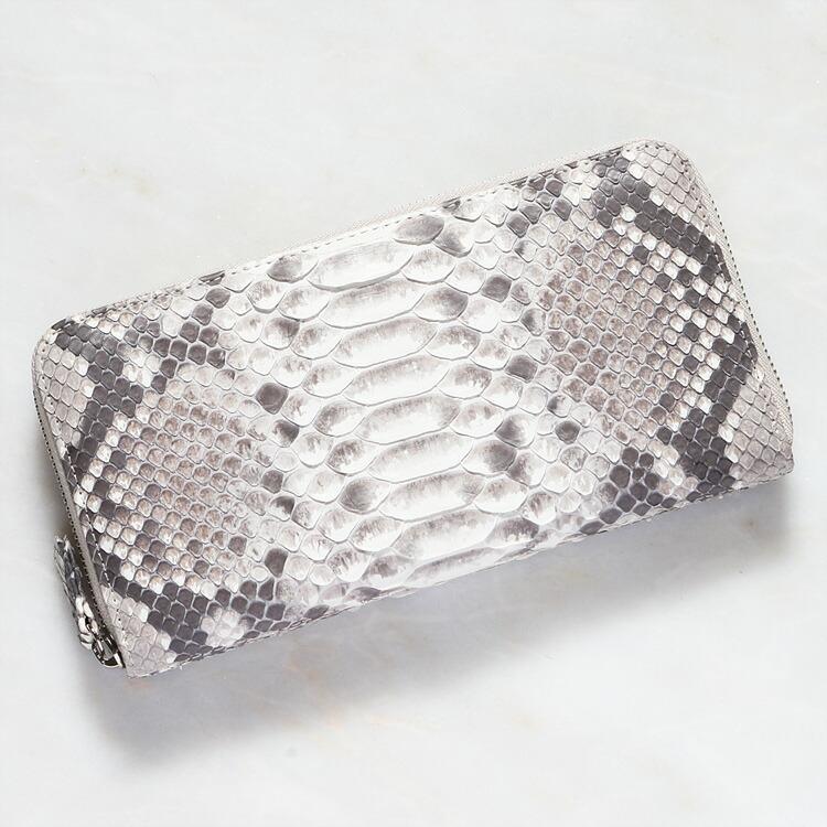 財布 長財布 メンズ レディース パイソン 蛇革 小銭入れあり ダイヤモンドパイソン 日本製 オリジナル ホワイト/白 ナチュラル バックカット