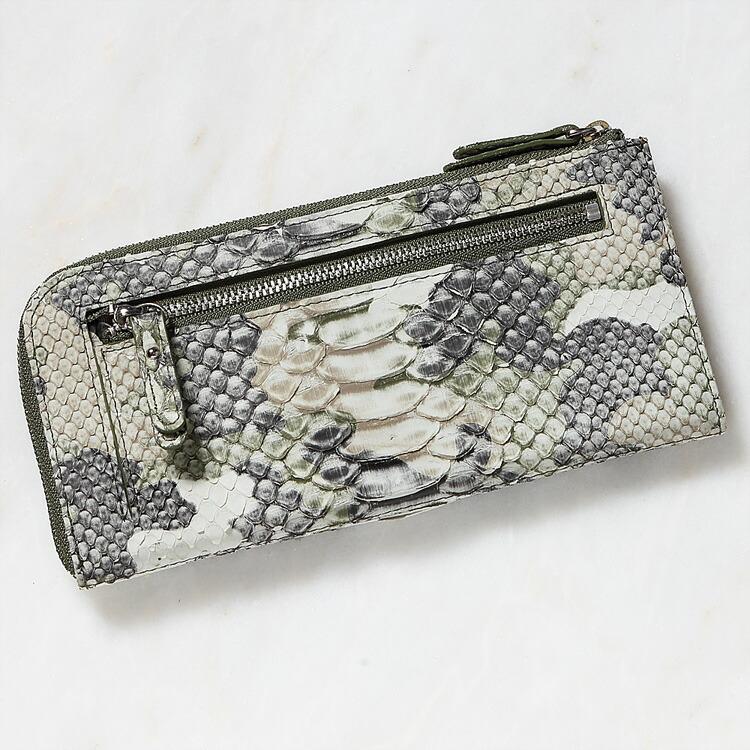 財布 長財布 メンズ レディース パイソン 蛇革 小銭入れあり ダイヤモンドパイソン 日本製 オリジナル 迷彩柄 カモフラージュ グリーン/緑 開運 金運