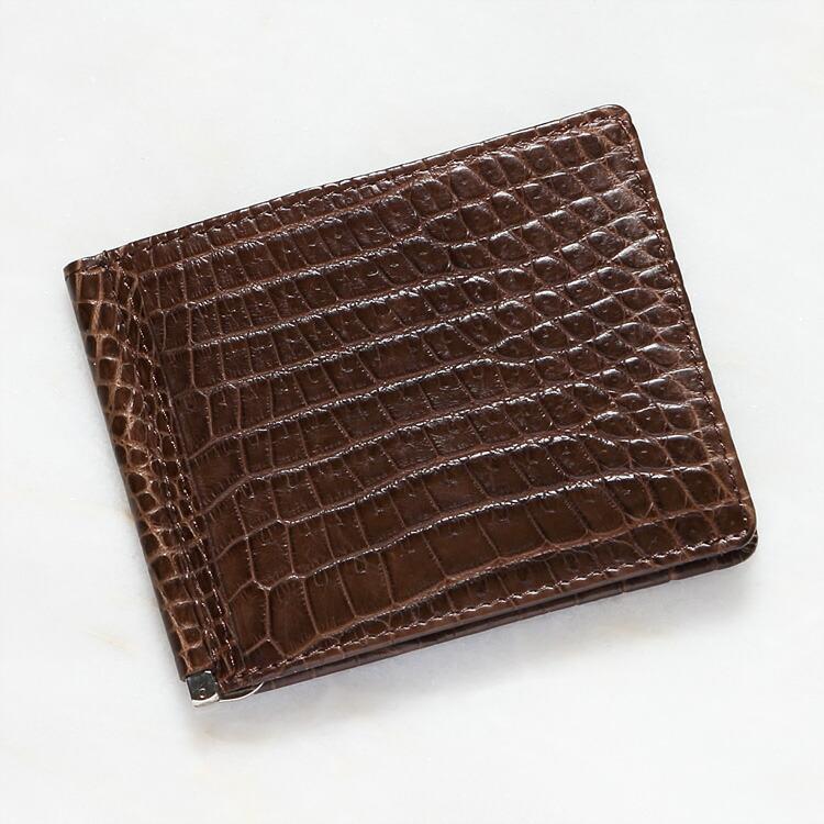 財布 クロコダイル ワニ革 マネークリップ 札ばさみ ブラウン 本革 メンズ 無双 日本製 オリジナル