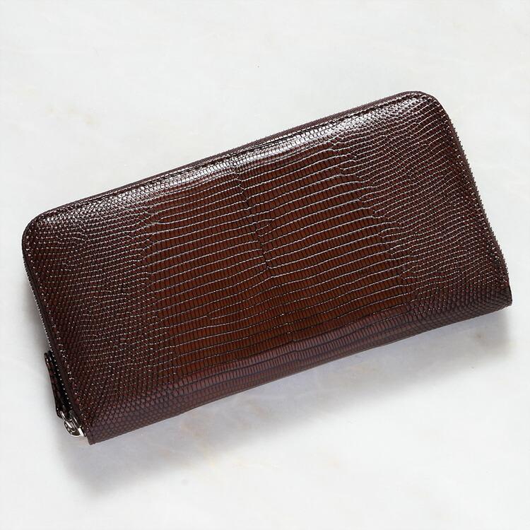 財布 長財布 本革 レザー メンズ レディース リザード トカゲ革 小銭入れあり 日本製 オリジナル ブラウン/茶色