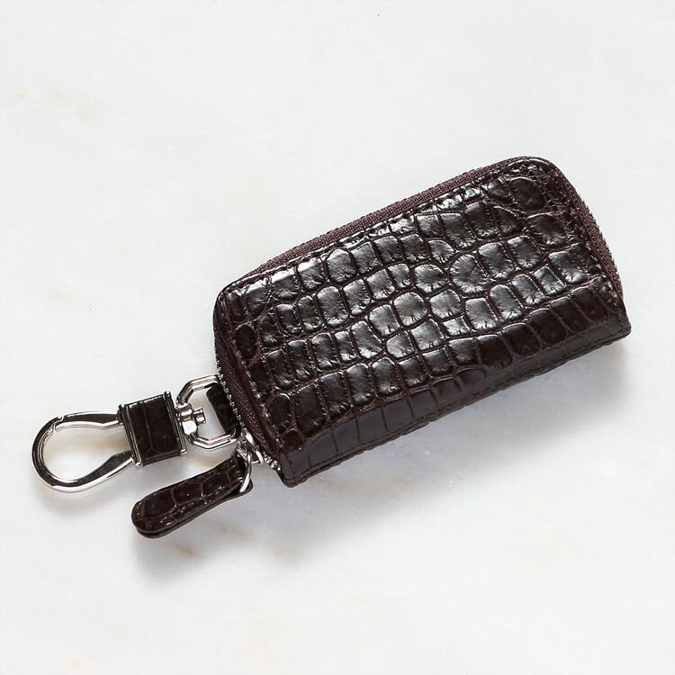 キーケース キーホルダー 鍵入れ クロコダイル ワニ革 ブラウン/茶色 本革 メンズ 日本製 オリジナル