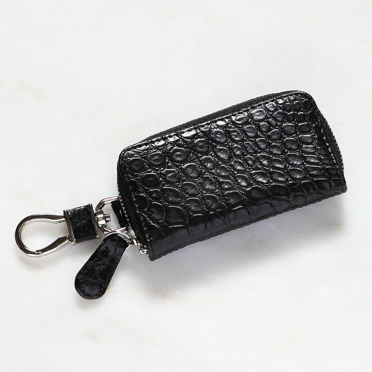 キーケース キーホルダー 鍵入れ クロコダイル ワニ革 ブラック/黒 本革 メンズ 日本製 オリジナル