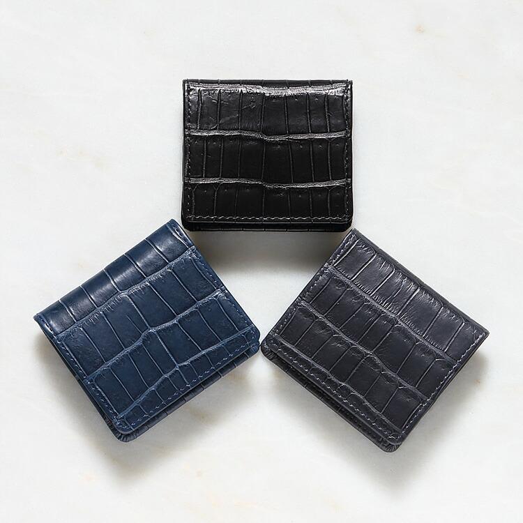 小銭入れ コインケース メンズ 財布 クロコダイル ワニ革 レザック LE'SAC ブラック/黒 グレー デニム/ブルー/青 本革 日本製 8152 正規取扱品