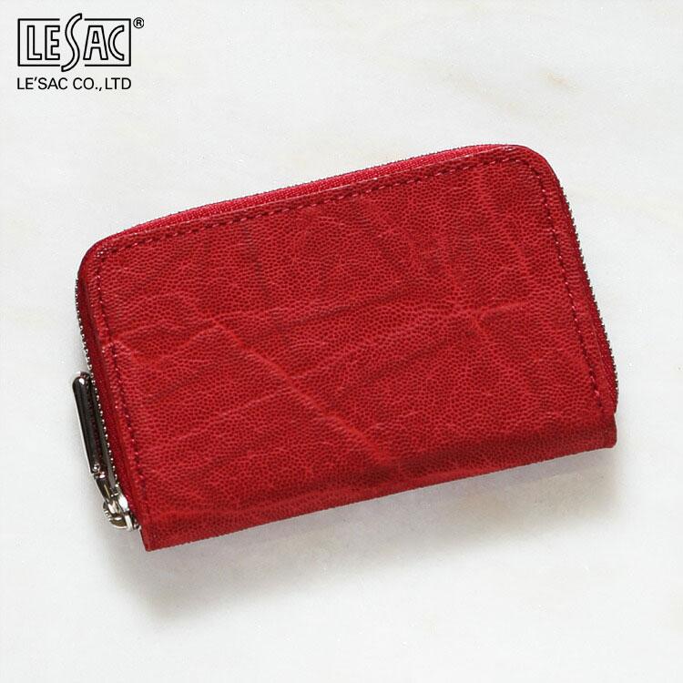 小銭入れ コインケース メンズ 財布 エレファント 象革 レザック LE'SAC レッド/赤 本革 日本製 8141 正規取扱品