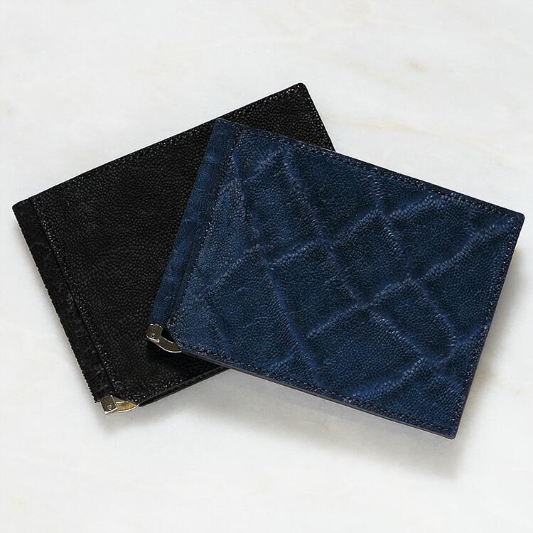 エレファント 象革 メンズ 財布 マネークリップ 札ばさみ 二つ折り 薄型 コンパクト 手のひらサイズ ブラック/黒 ブルー/青 インディゴ 日本製 レザック LE'SAC 8155 正規取扱品 開運 金運