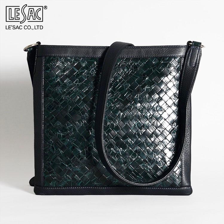 クロコダイル ワニ革 ショルダーバッグ メンズ レザック LE'SAC ポロサス ネイビー/紺 メッシュ イントレチャート 日本製 ARONA 正規取扱品