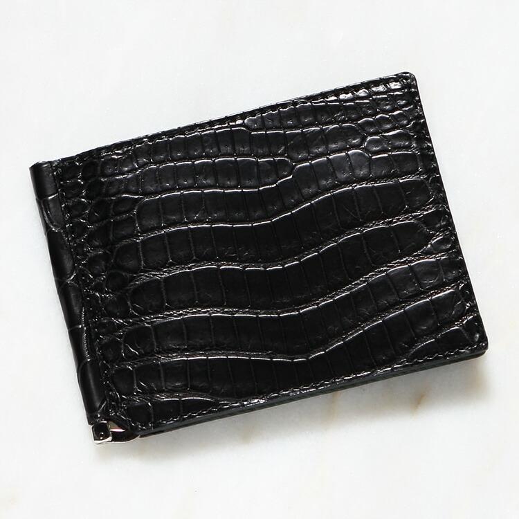 クロコダイル ワニ革 メンズ 財布 マネークリップ 札ばさみ 二つ折り 薄型 コンパクト 手のひらサイズ ブラック/黒 日本製 レザック LE'SAC 8157 正規取扱品 開運 金運