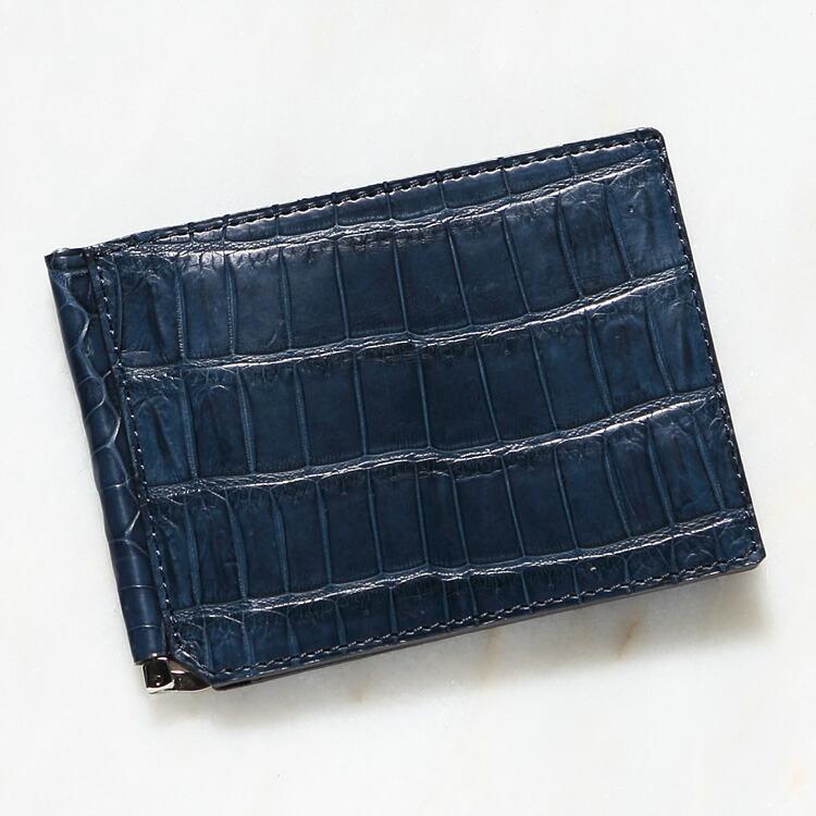クロコダイル ワニ革 メンズ 財布 マネークリップ 札ばさみ デニム/ブルー 日本製 レザック LE'SAC 8157 正規取扱品