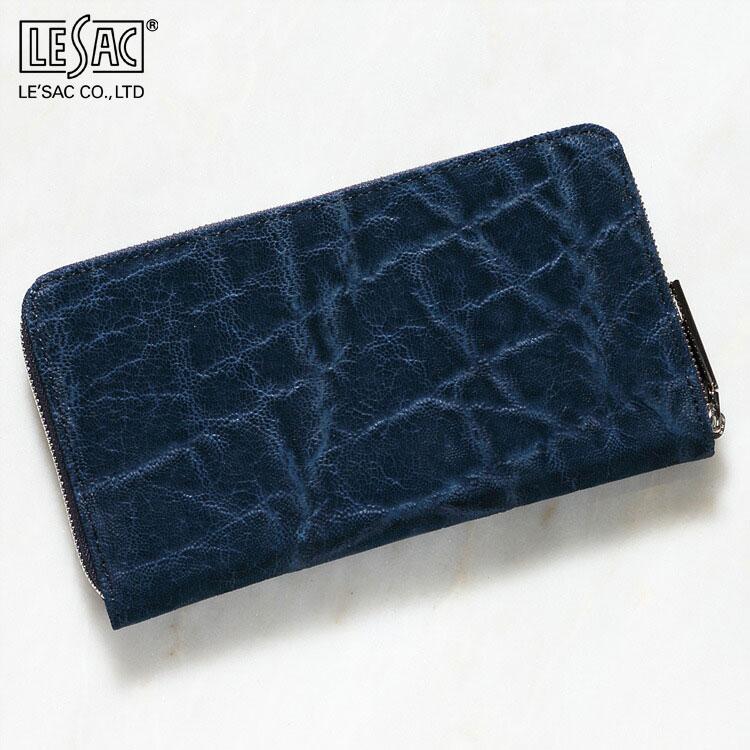 財布 長財布 メンズ レディース エレファント 象革 小銭入れあり レザック LE'SAC インディゴ ブルー/青 日本製 8156 正規取扱品