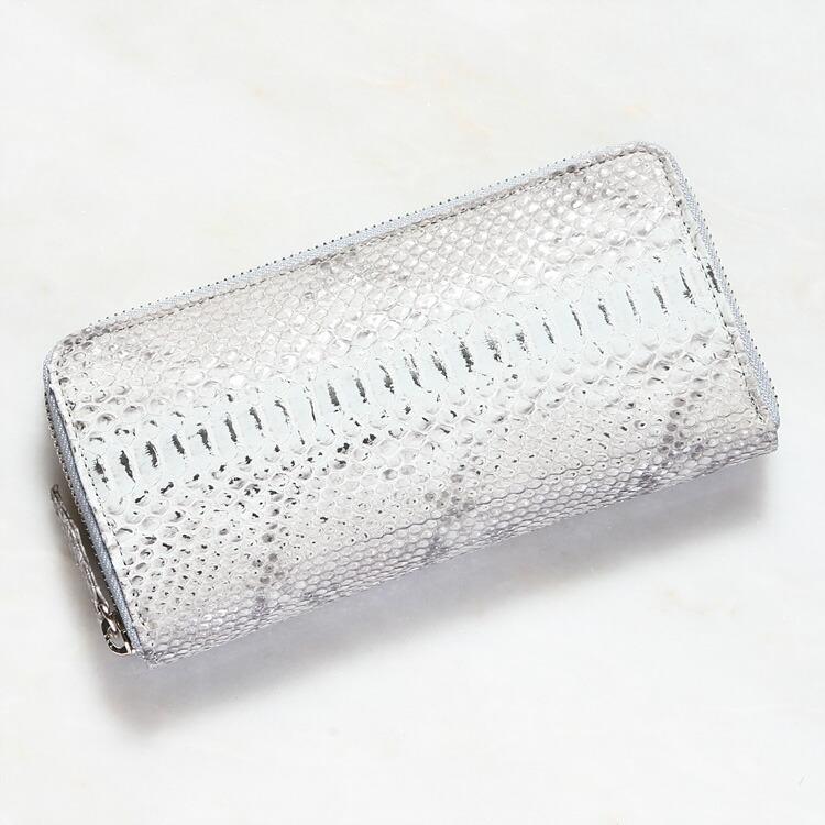 財布 長財布 メンズ レディース パイソン 蛇革 小銭入れあり クアトロガッティ シルバー ホワイト/銀 白 スペシャルカラー 日本製 ダイヤモンドパイソン 8153 正規取扱品