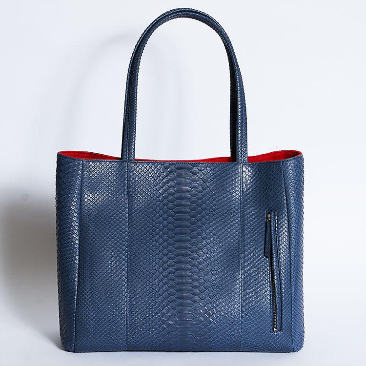 レザック LE'SAC パイソン 蛇革 トートバッグ デニム/ブルー メンズ レディース 男女兼用 日本製 ダイヤモンドパイソン MODENA 正規取扱品