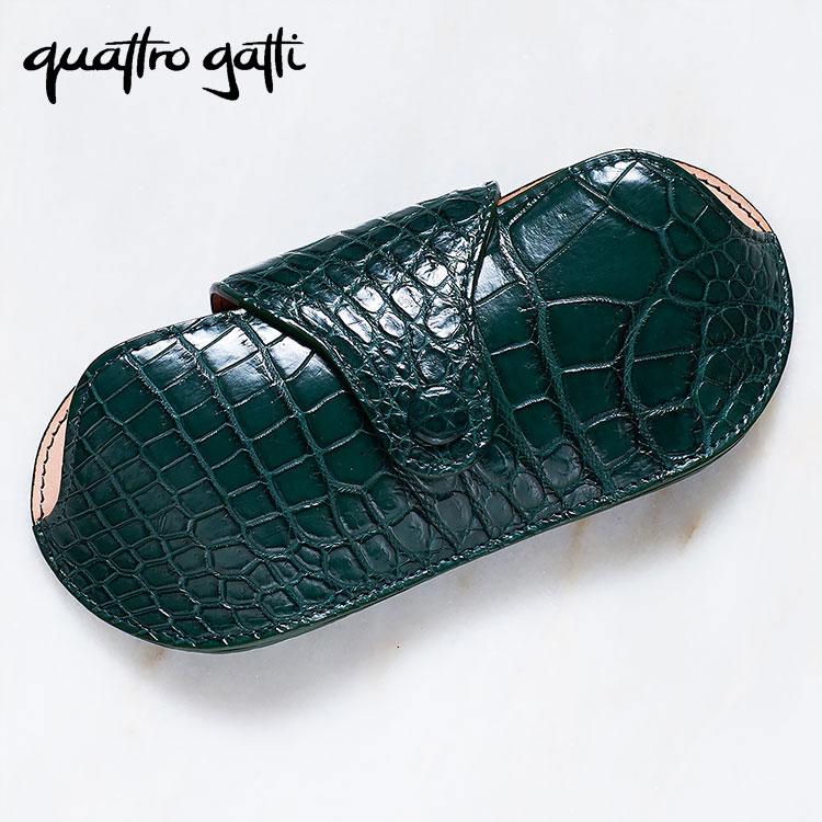 クロコダイル ワニ革 クアトロガッティ Quattrogatti 日本製 グリーン/緑 メガネケース サングラス 眼鏡 正規取扱品 ギフト プレゼント 送料無料