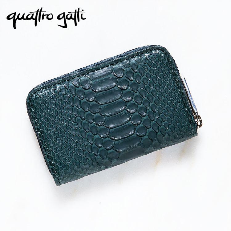 財布 小銭入れ コインケース メンズ パイソン 蛇革 ダイヤモンドパイソン クアトロガッティ グリーン 日本製 Quattro Gatti 8160 正規取扱品