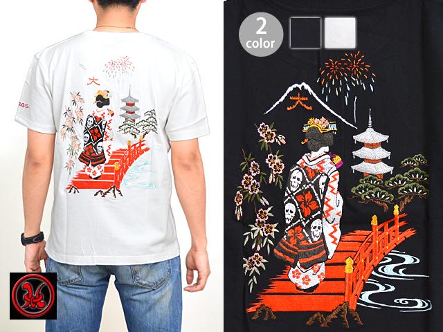 京舞妓半袖Tシャツ クロップドヘッズ 和柄 和風 送料無料 京都 刺繍【smtb-k】【kb】10P03Dec16【thxgd_18】
