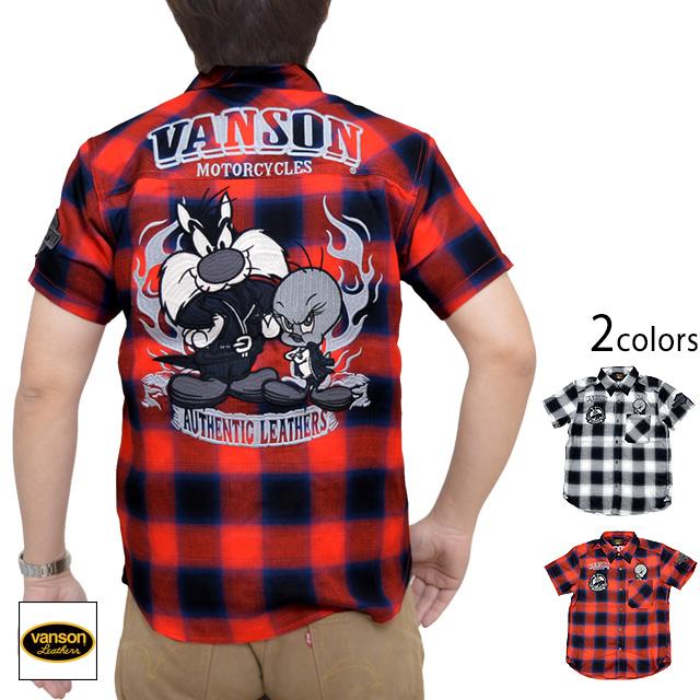 vanson×LOONEY TUNESコラボ チェック半袖シャツ vanson LTV-2010 バンソン ヴァンソン 刺繍 バイカー[new]