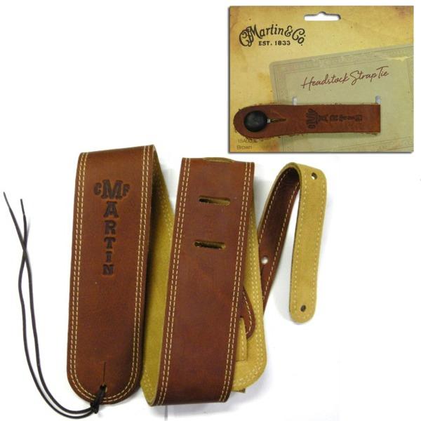 【送料無料】マーティン Martin 18A0012+18A0032 Ball Glove Leather ギターストラップ+ストラップボタン ブラウン【smtb-TK】