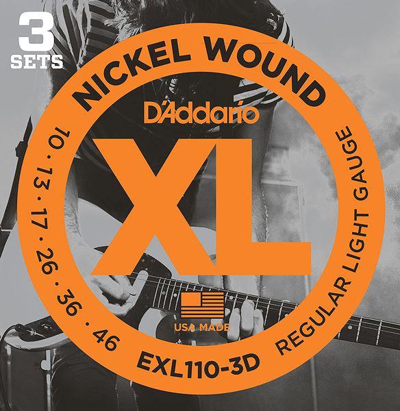 【弦×18セット】【メール便発送・全国送料無料・代金引換不可】ダダリオ D'Addario EXL110-3D×6パック(計18セット) エレキギター弦 3セットパック【smtb-TK】