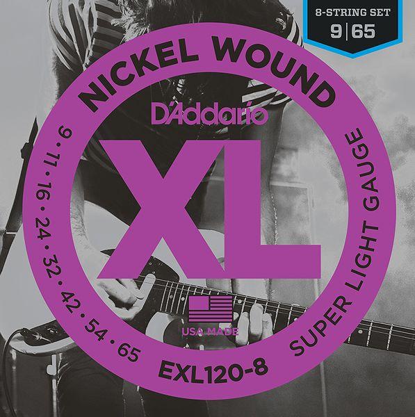 【弦×10セット】【メール便発送・全国送料無料・代金引換不可】ダダリオ D'Addario EXL120-8 8弦ギター用SUPER LIGHT[09-65]【smtb-TK】