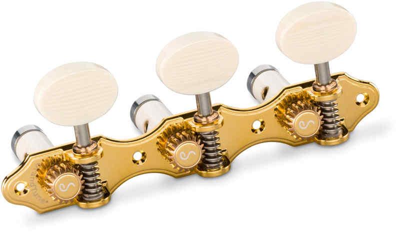【送料無料】シャーラー Schaller GTC Hauser GO61(40) [Gold/Galalith oval(ボタン)/White deluxe(ポスト)] クラシックギター用ペグ(糸巻き)セット【smtb-TK】