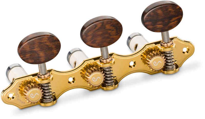 【送料無料】シャーラー Schaller GTC Hauser GO66(40) [Gold/Snakewood oval(ボタン)/White deluxe(ポスト)] クラシックギター用ペグ(糸巻き)セット【smtb-TK】