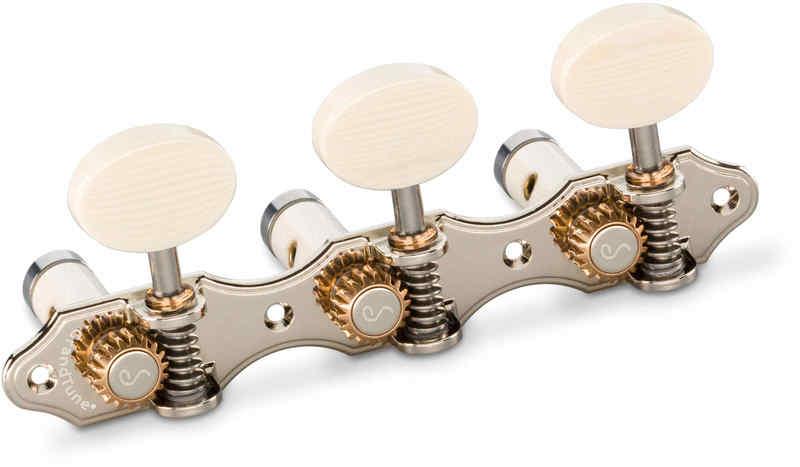 【送料無料】シャーラー Schaller GTC Hauser NI61(40) [Nickel/Galalith oval(ボタン)/White deluxe(ポスト)] クラシックギター用ペグ(糸巻き)セット【smtb-TK】