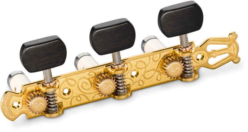 【送料無料】シャーラー Schaller GTC Lyra GO63(40) [Gold/Ebony square(ボタン)/White deluxe(ポスト)] クラシックギター用ペグ(糸巻き)セット【smtb-TK】