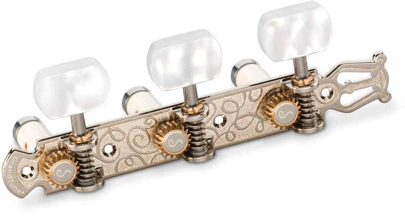 【送料無料】シャーラー Schaller GTC Lyra NI60(40) [Nickel/Perloid white square(ボタン)/White deluxe(ポスト)] クラシックギター用ペグ(糸巻き)セット【smtb-TK】