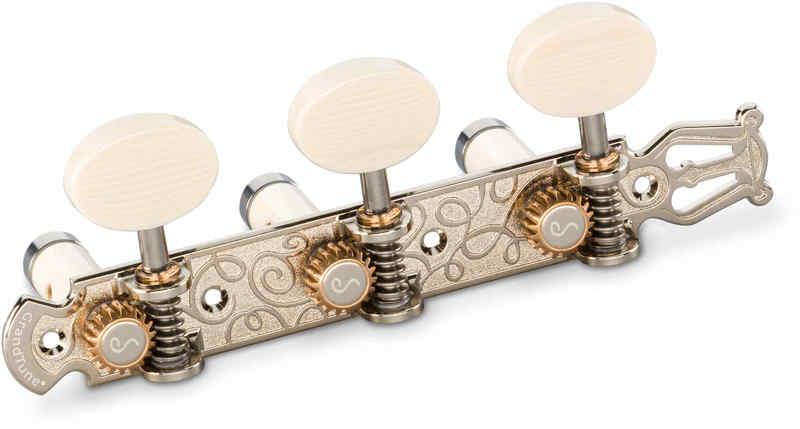 【送料無料】シャーラー Schaller GTC Lyra NI61(40) [Nickel/Galalith oval(ボタン)/White deluxe(ポスト)] クラシックギター用ペグ(糸巻き)セット【smtb-TK】