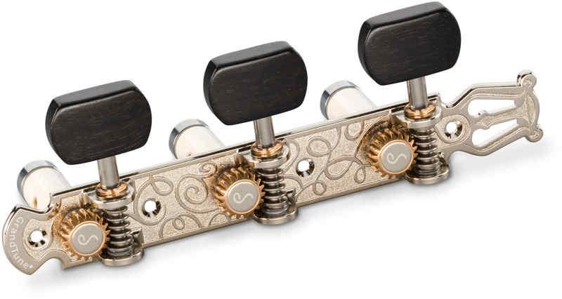 【送料無料】シャーラー Schaller GTC Lyra NI63(40) [Nickel/Ebony square(ボタン)/White deluxe(ポスト)] クラシックギター用ペグ(糸巻き)セット【smtb-TK】