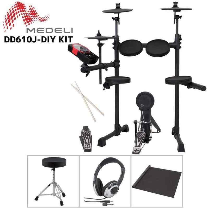 【送料無料】MEDELI DD610J-DIY KIT 電子ドラム エレドラ/イス+ヘッドホン+ドラムマット付【smtb-TK】