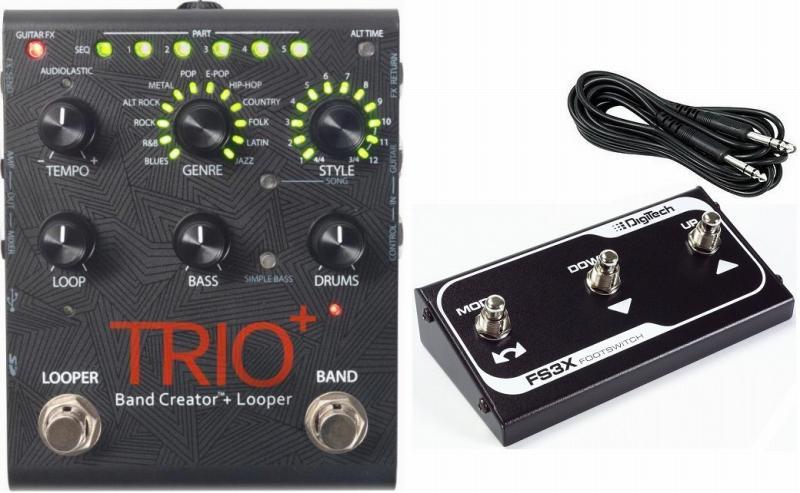【送料無料】デジテック DigiTech TRIO+&FS3X Band Creator plus Looper リズムマシン プラス ルーパー ベース&ドラムパートを自動生成 +純正フットスイッチ【smtb-TK】