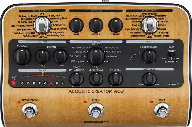 【限定ZOOMピック2枚付】【送料無料】ズーム ZOOM AC-3(ACアダプター付属) ピックアップで失われたボディ鳴りを再現 Acoustic Creator【smtb-TK】