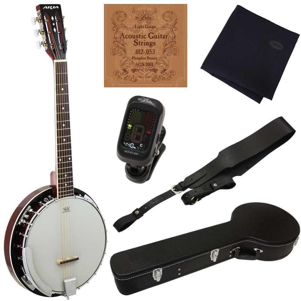 アリア ARIA SB-10G/ハードケース付6点セット ギターと同じチューニング/6弦バンジョー【送料無料】【smtb-TK】