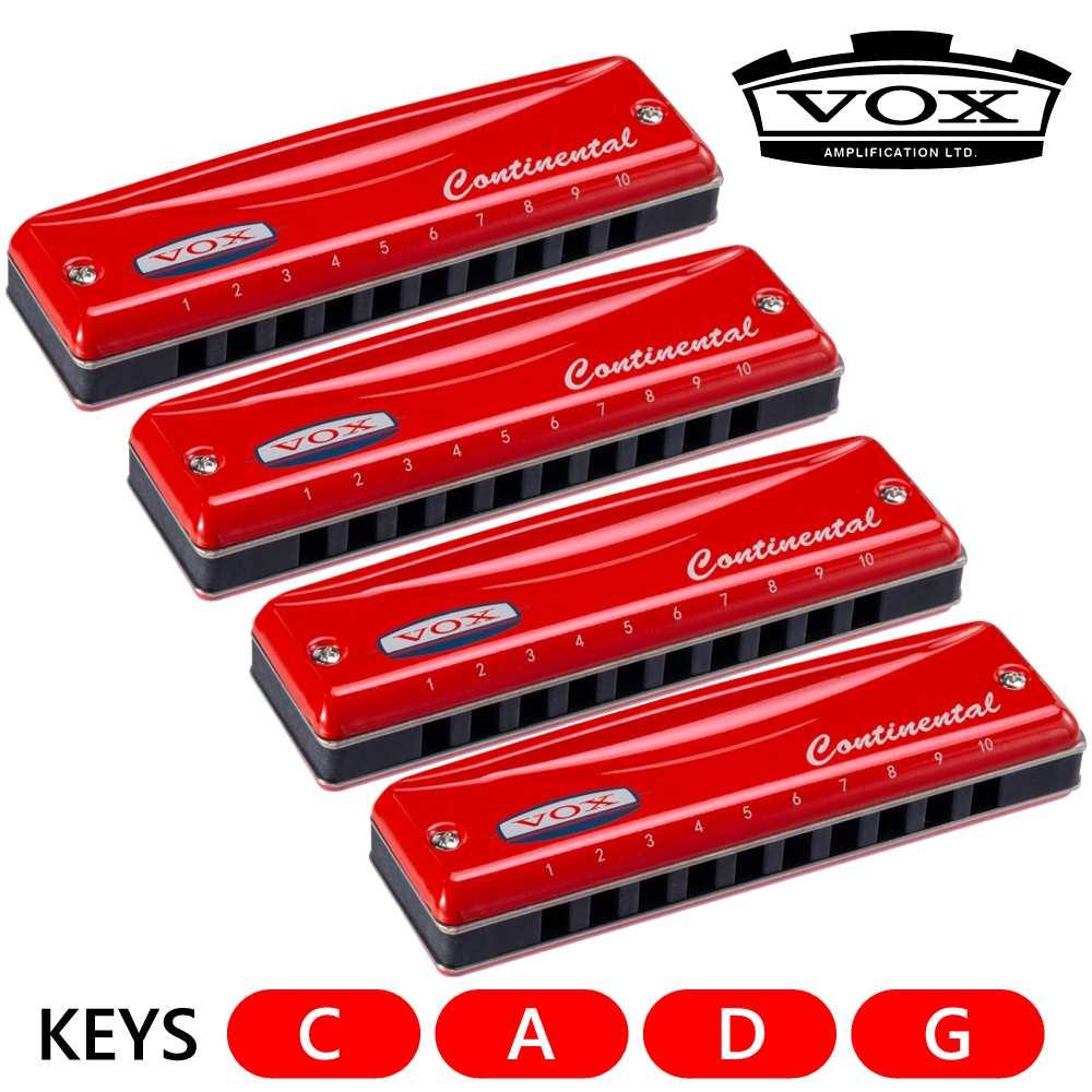 【送料無料】VOX Continental Type 2 Harmonica/C調/A調/D調/G調 計4本セット 10穴 ブルースハープ【smtb-TK】
