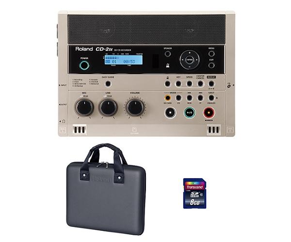 【送料無料】ローランド Roland CD-2u(専用ケース/CB-CD2E+SDHCカード/8GB付) 練習や学習に活かせる、簡単操作で高品位なレコーディングが可能なSD/CDレコーダー【smtb-TK】