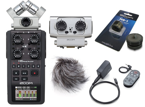 ) multi-purpose handy recorder belonging to zoom ZOOM H6(XLR/TRS combo  capsule /EXH-6+ accessories pack /APH-6+ hot Shoo mount