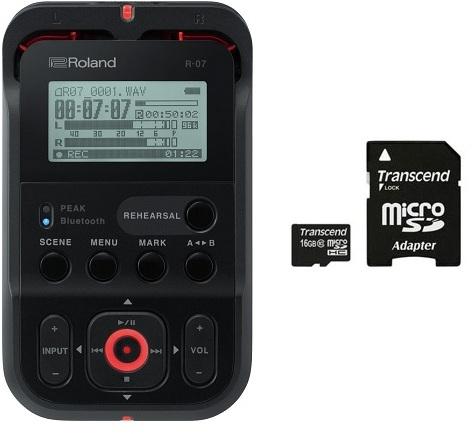 【特典付】【送料無料】ローランド Roland R-07-BK(microSDHCカード/16GB付) ブラック Bluetooth aptX ハイレゾ レコーダー R-07/BK【smtb-TK】