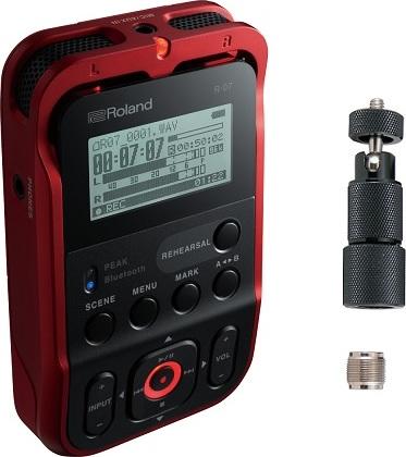 【特典付】【送料無料】ローランド Roland R-07-RD(マイクスタンドアダプター/OP-MSA1付) レッド Bluetooth aptX ハイレゾ レコーダー R-07/RD【smtb-TK】