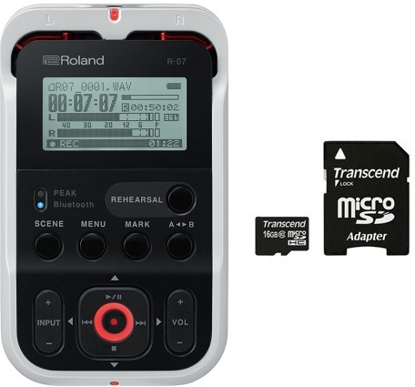 【特典付】【送料無料】ローランド Roland R-07-WH(microSDHCカード/16GB付) ホワイト Bluetooth aptX ハイレゾ レコーダー R-07/WH【smtb-TK】