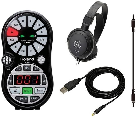【送料無料】ローランド Roland VT-12-BK+audio-technicaヘッドホン+接続ケーブル+USB→DC電源ケーブル/UDC-25 ボーカルトレーナー【smtb-TK】