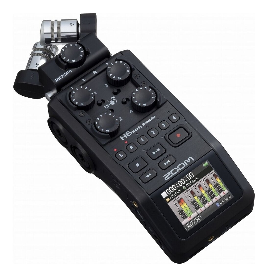 ZOOM H6/BLK マイク交換ハンディレコーダー ブラック·エディション【ポイント5倍】【送料無料】【smtb-TK】