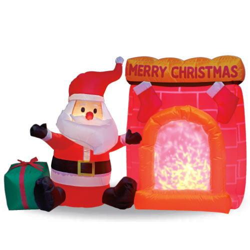 【送料無料】エアーディスコライトディスプレイ  サンタと暖炉 WG-6511 サンタクロース エアーディスプレイ 室内用 クリスマス ディスプレイ クリスマスイルミネーション クリスマス 電飾