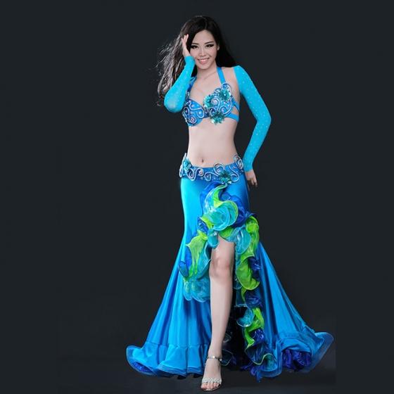 格安オリエンタル衣装 ラインストーン付きアーム、ブラ、ベルト、スカート4点セット 全3色 ライトブルー ダークブルー レッド ライクラ オーガンジー シースルー
